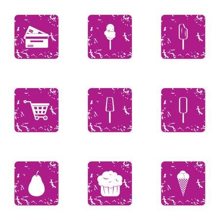 Dessert shop icons set, grunge style