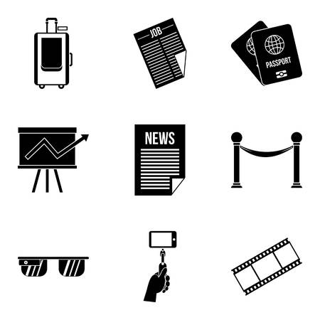 Litterateur icons set, simple style