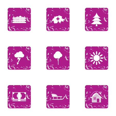 Winter homeplace icons set. Grunge set of 9 winter homeplace icons for web isolated on white background 스톡 콘텐츠
