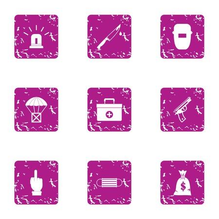 Working atmosphere icons set. Grunge set of 9 working atmosphere icons for web isolated on white background