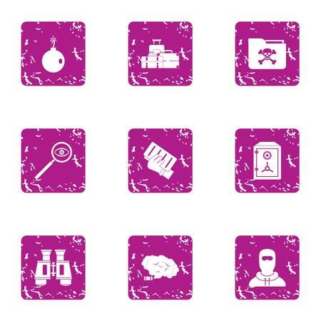 Theft icons set. Grunge set of 9 theft icons for web isolated on white background Stock Photo