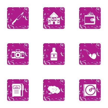 Household chores icons set. Grunge set of 9 household chores icons for web isolated on white background