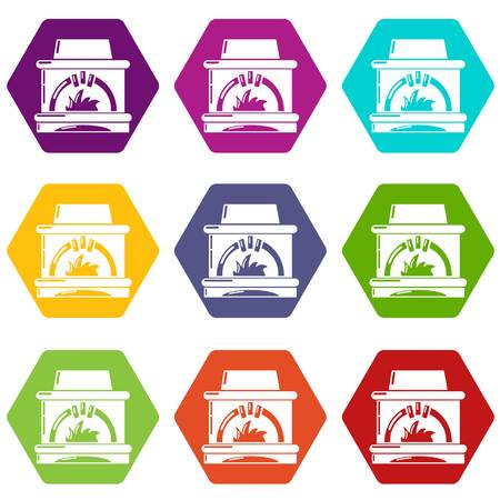 Blast furnace icons 9 set coloful isolated on white for web Stock Photo