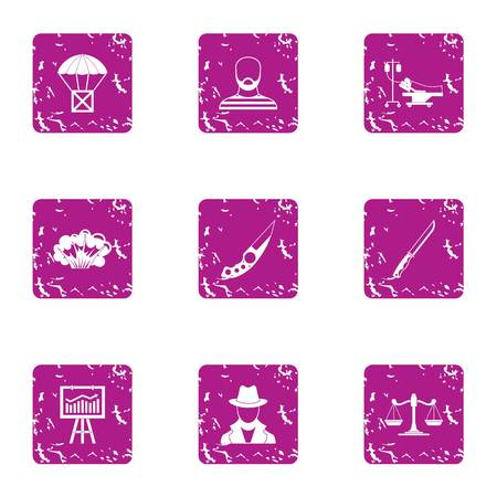Delinquency icons set. Grunge set of 9 delinquency icons for web isolated on white background Stock Photo