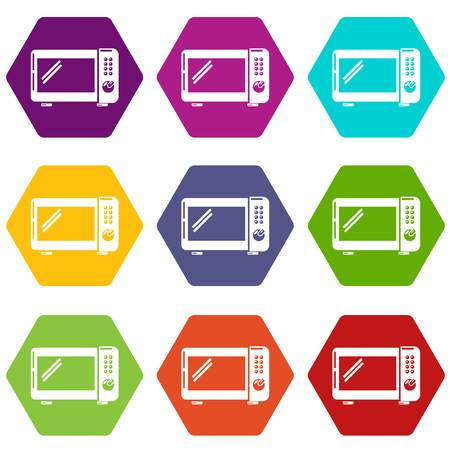 Microwave oven icons 9 set coloful isolated on white for web Stock Photo