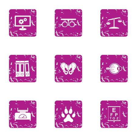 Medical case icons set. Grunge set of 9 medical case icons for web isolated on white background