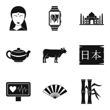 Asian teaching icons set. Simple set of 9 asian teaching icons for web isolated on white background Stock Photo