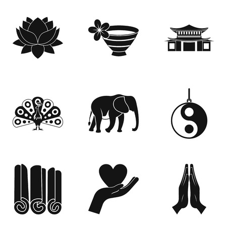 Asian yoga icons set. Simple set of 9 asian yoga icons for web isolated on white background