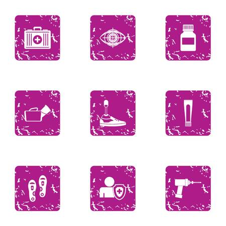 Online med icons set. Grunge set of 9 online med icons for web isolated on white background