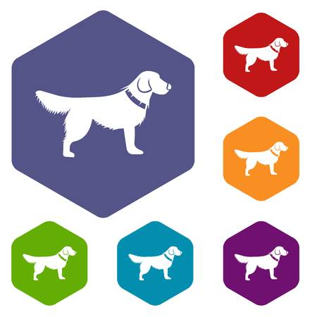 Dog icons set rhombus in different colors isolated on white background