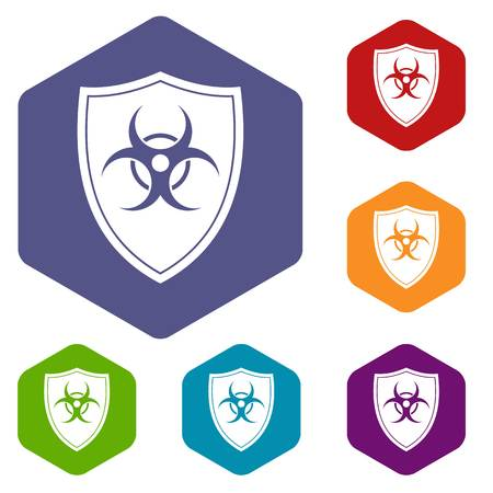 Shield with a biohazard sign icons set rhombus in different colors isolated on white background