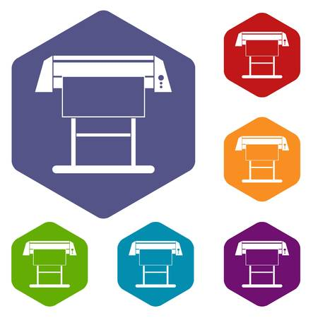 Large format inkjet printer icons set rhombus in different colors isolated on white background