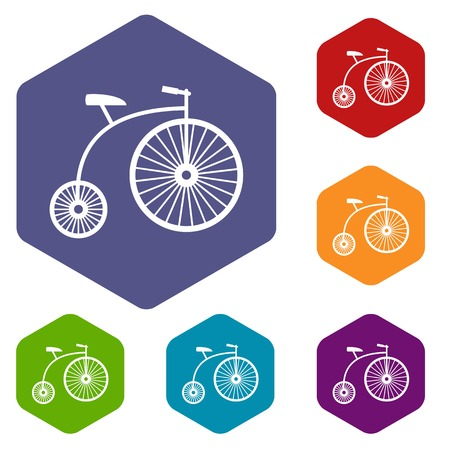Penny-farthing icons set rhombus in different colors isolated on white background