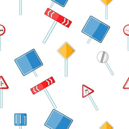 Road sign pattern. Cartoon illustration of road sign pattern for web 写真素材