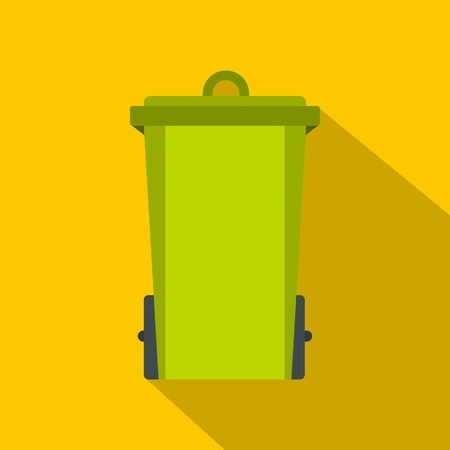 Green trash bin icon. Flat illustration of green trash bin icon for web on yellow background