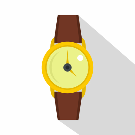 Gold wristwatch icon. Flat illustration of gold wristwatch icon for web on white background Stock Photo