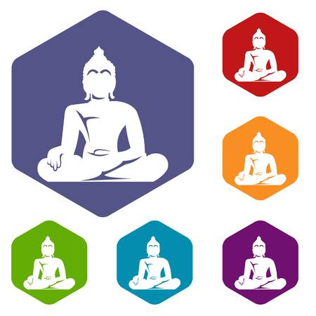 Statue of Buddha sitting in lotus pose icons set rhombus in different colors isolated on white background