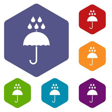 Umbrella and rain drops icons set rhombus in different colors isolated on white background Stockfoto