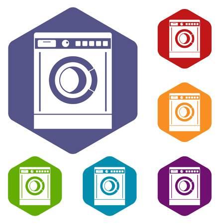 Washing machine icons set