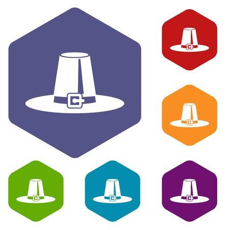 Pilgrim hat icons set Stock Photo - 108870489