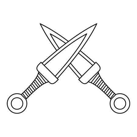 Crossed daggers icon, outline style Stock Photo