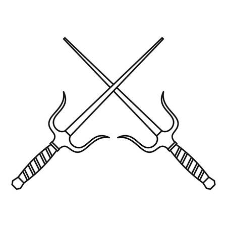 Sai dagger weapon icon, outline style Stock Photo