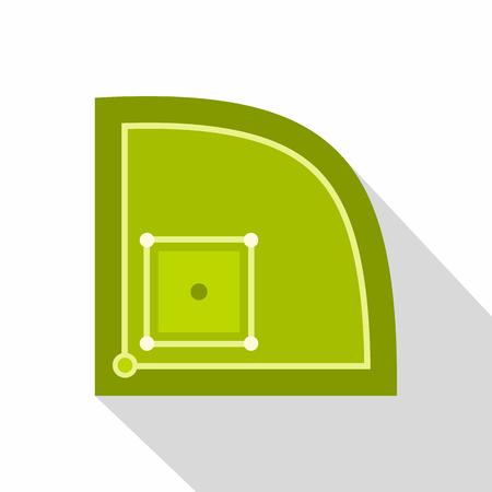 Green baseball field icon, flat style Stock Photo