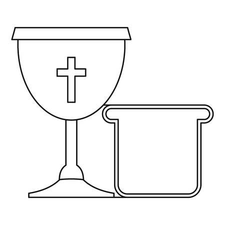 Bowl and bread icon , outline style