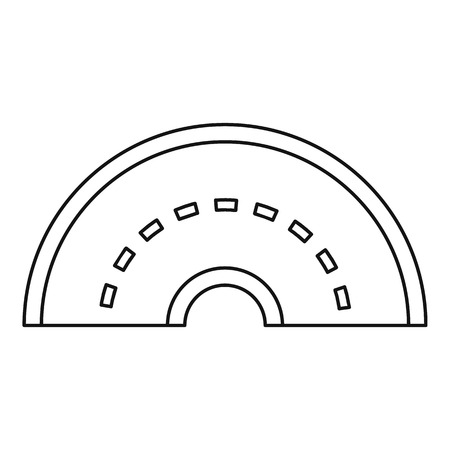 Round turning road icon, outline style