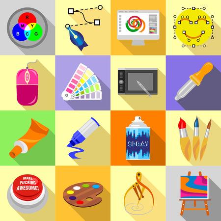 Design and drawing tools icons set, flat style Фото со стока