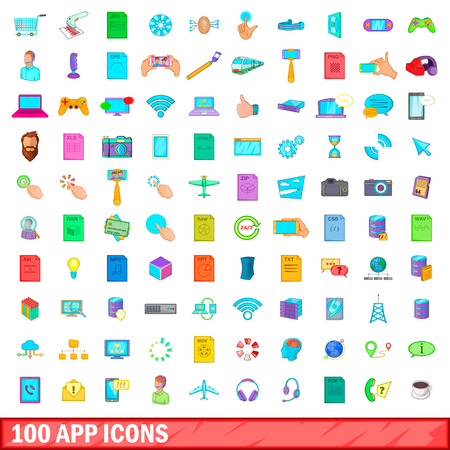 100 app icons set in cartoon style for any design illustration