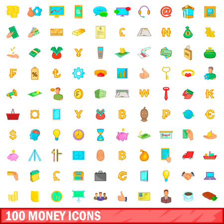 100 money icons set in cartoon style for any design illustration