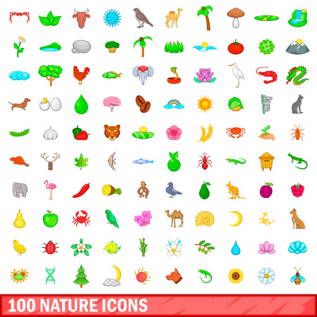100 nature icons set in cartoon style for any design illustration