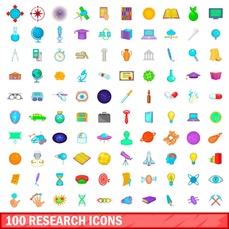 100 research icons set in cartoon style for any design illustration