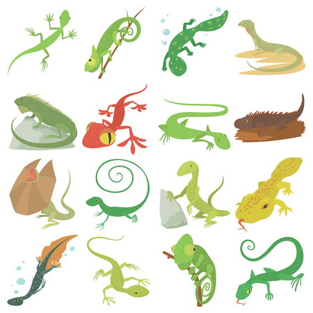 Lizard type animals icons set. Cartoon illustration of 16 lizard type animals icons for web