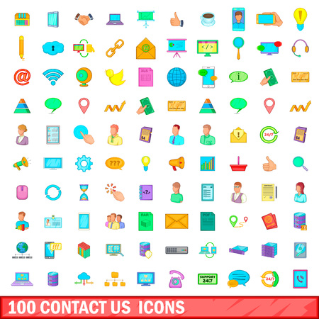 100 contact us icons set in cartoon style for any design illustration Stock fotó