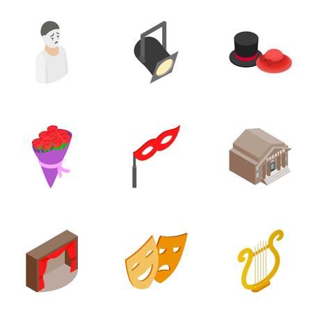 Opera icons set. Isometric 3d illustration of 9 opera icons for web Stock Photo