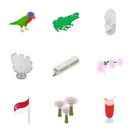 Singapore icons set. Isometric 3d illustration of 9 Singapore icons for web