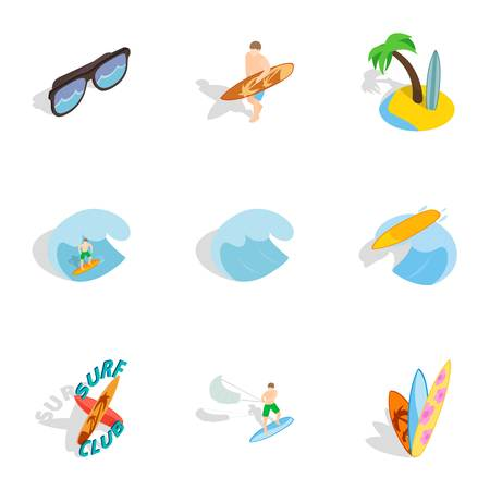 Summer boarding on waves icons set. Isometric 3d illustration of 9 summer boarding on waves icons for web