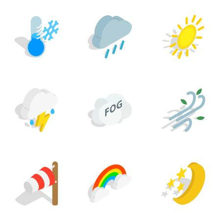 Weather forecast icons, isometric 3d style