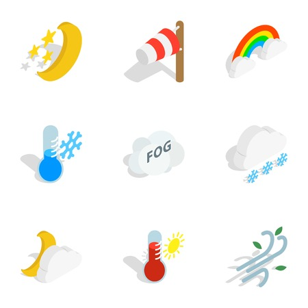 Weather icons, isometric 3d style