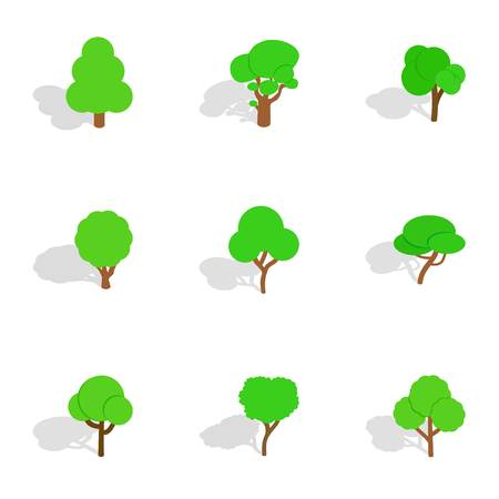 Different trees icons, isometric 3d style