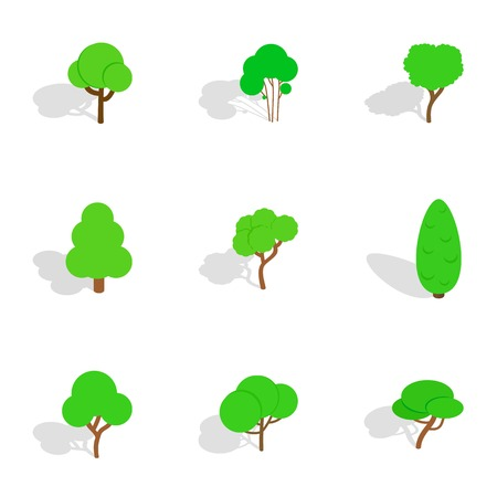 Deciduous trees icons, isometric 3d style