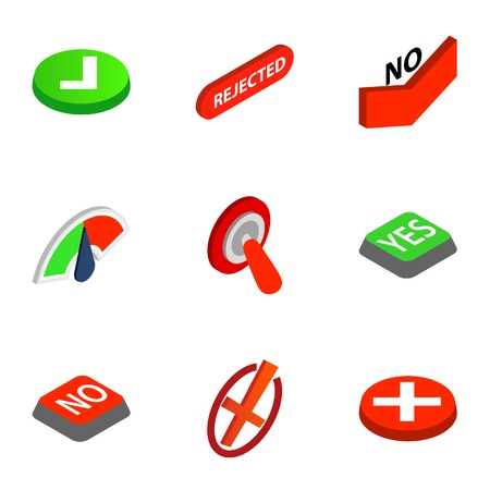Check mark icons set. Isometric 3d illustration of 9 check mark icons for web