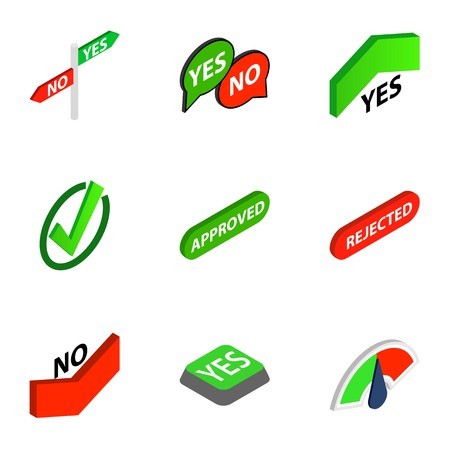 Correct and incorrect icons set. Isometric 3d illustration of 9 correct and incorrect icons for web