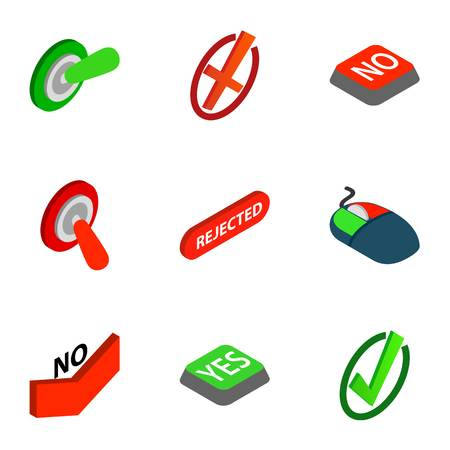 Interface buttons Yes, No icons set. Isometric 3d illustration of 9 interface buttons Yes, No icons for web Stock Photo