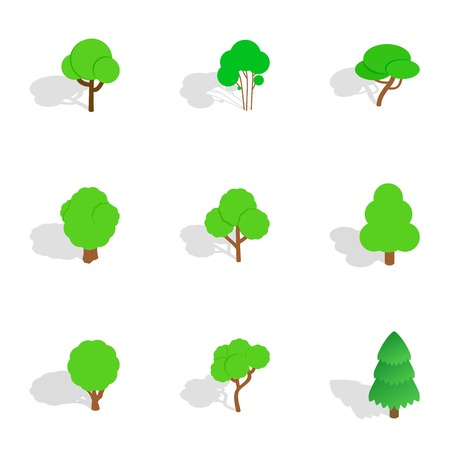 Green tree icons set. Isometric 3d illustration of 9 green tree icons for web