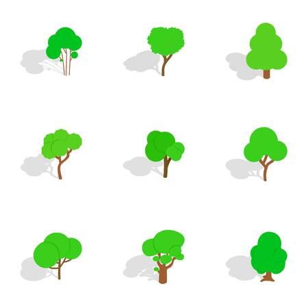 Summer tree icons set. Isometric 3d illustration of 9 summer tree icons for web Stock Photo