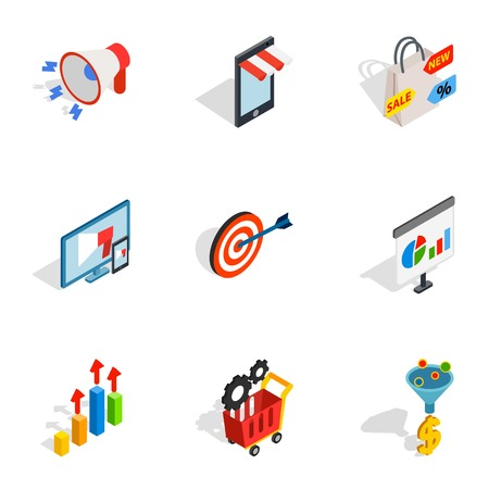 Online shop icons set. Isometric 3d illustration of 9 online shop icons for web Archivio Fotografico