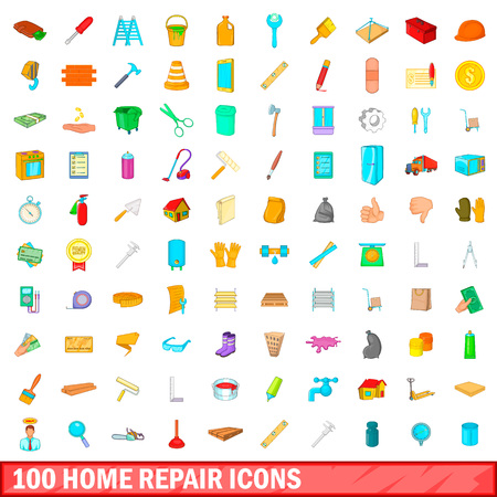 100 home repair icons set in cartoon style for any design illustration Stock Photo